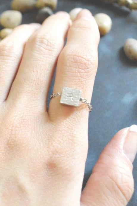 E-044 Hand Stamped Initial ring, Square ring, Hammered ring, Chain ring, Simple ring, Modern ring, Silver plated ring/Everyday