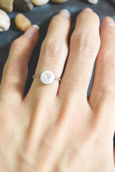 E-042 Hand Stamped Initial ring, Coin ring, Circle ring, Chain ring, Simple ring, Modern ring, Rhodium plated ring/Everyday/Gift/