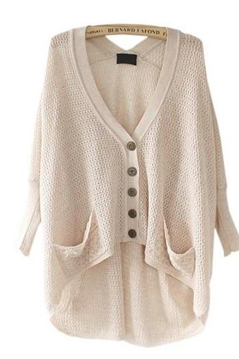 Fashion Solid Color High-Low Cardigan