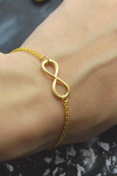 C-039 Infinity bracelet, Double layered bracelet, Simple bracelet, Gold plated/Everyday jewelry/