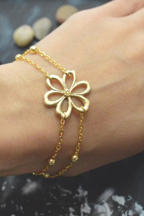 C-037 Flower bracelet, Double layered bracelet, Ball chain bracelet, Simple bracelet, Gold plated/Everyday jewelry/