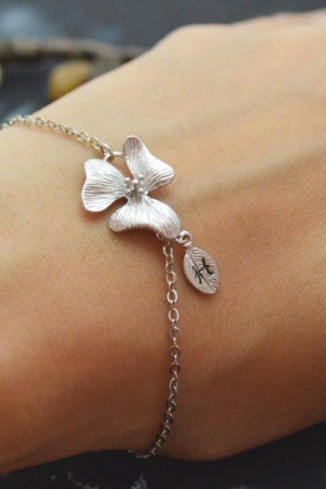 C-035 Orchid flower initial bracelet, Personalized bracelet, Simple bracelet, Rhodium plated/Everyday jewelry/
