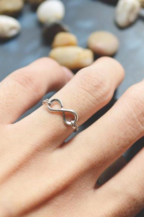 E-038 Infinity ring, Chain ring, Simple ring, Modern ring, Silver plated ring/Everyday/Gift/