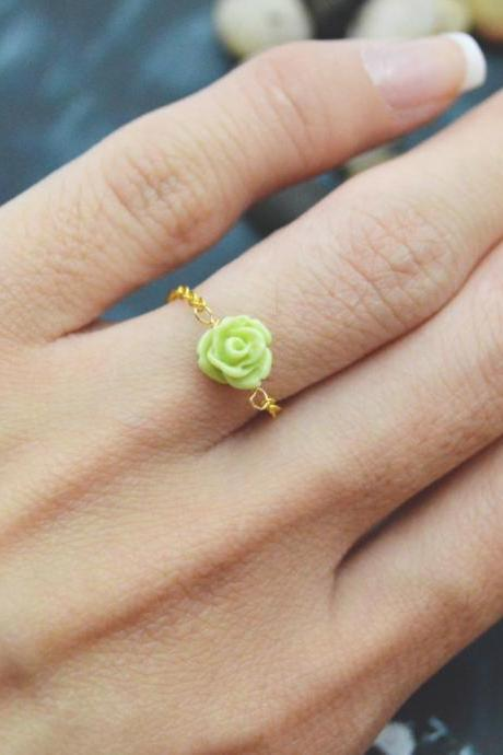 E-035 Rose ring, Chain ring, Flower ring, Cabochon ring, Simple ring, Modern ring, Gold plated ring/Everyday/Gift/