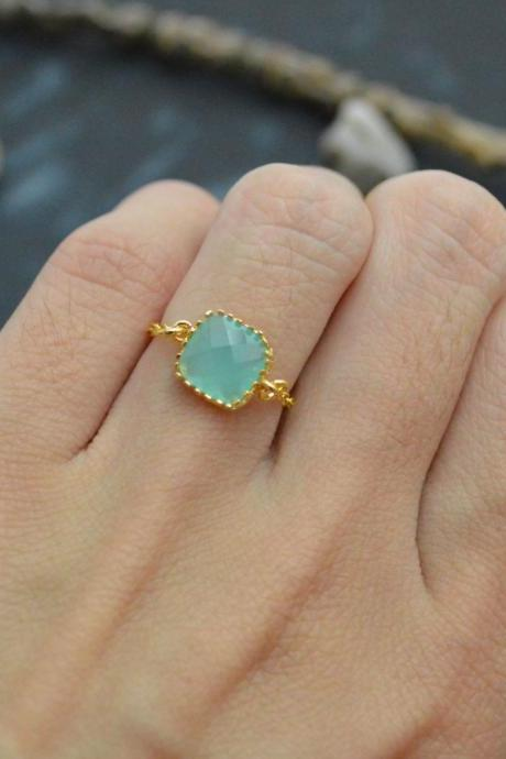 E-034 Mint Glass ring, Gold Framed ring, Chain ring, Simple ring, Modern ring, Gold plated ring/Everyday/Gift/