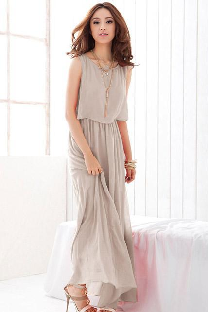 Chiffon Sleeveless High Waist Prom Dress - Light Grey