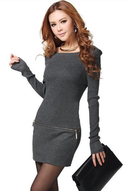 Skinny Long Sleeve Boat Neck Knitting Straight Dress - Grey