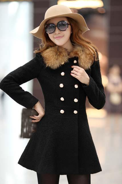 Fashion Double Breasted Fur Decoration Collar Coat - Black