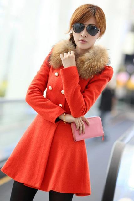 Fashion Double Breasted Fur Decoration Collar Coat - Orange