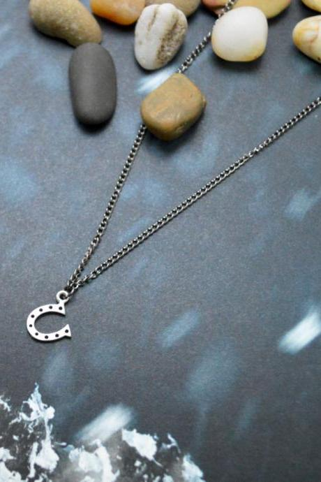 A-126 Horse's hoof necklace, Horseshoe necklace, Simple necklace, Modern necklace, Gun Metal/Bridesmaid/gifts/Everyday jewelry/