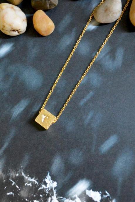 A-124 Hand stamped initial Square necklace, Personalized necklace, Modern necklace, Simple, Gold plated/Bridesmaid/gifts/Everyday jewelry/
