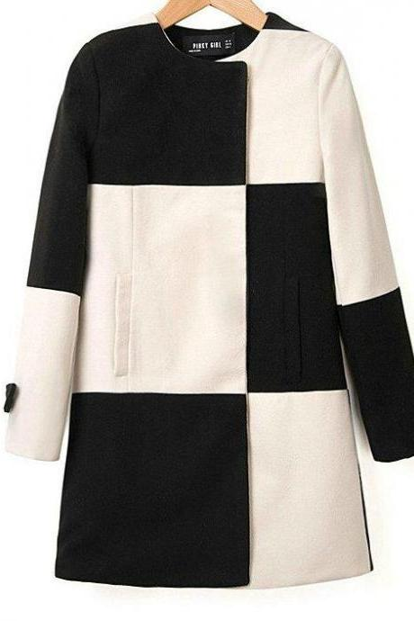 Europe and America hit the color stitching straight checkered Girls Long woolen coat jacket 122