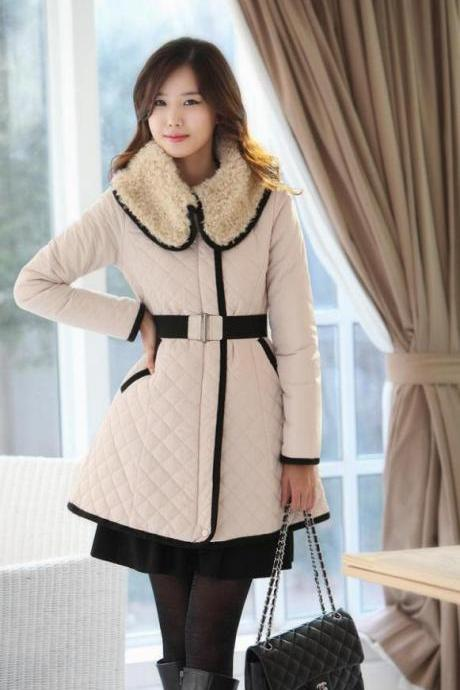 Winter New Women coat Slim Ovo collar Lapel Quilted Long section Long sleeve Thicken Warm Women Trench Coats Belt A458 S/M/L/XL/