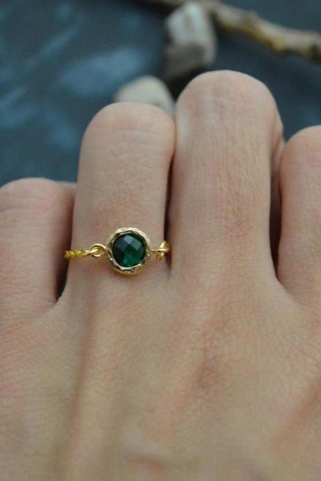 E-030 Emerald ring, Gold Frame ring, Chain ring, Simple ring, Modern ring, Gold plated ring/Everyday/Gift/
