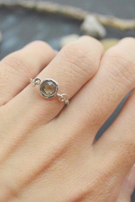 E-029 Charcoal Glass ring, Silver Frame ring, Chain ring, Sapphire ring, Simple ring, Modern ring, Silver plated ring/Everyday/Gift/