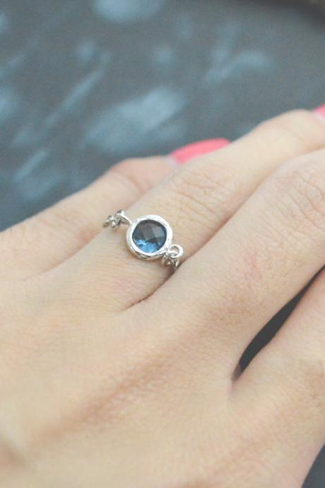 E-028 Blue Glass ring, Silver Frame ring, Chain ring, Sapphire ring, Simple ring, Modern ring, Silver plated ring/Everyday/Gift/
