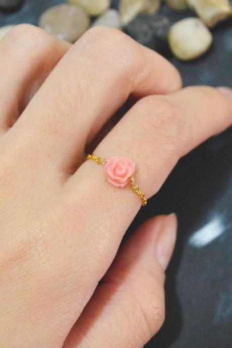 E-025 Rose ring, Chain ring, Flower ring, Cabochon ring, Simple ring, Modern ring, Gold plated ring/Everyday/Gift/