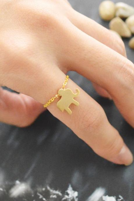 E-024 Elephant ring, Chain ring, Simple ring, Modern ring, Gold plated ring/Everyday/Gift/