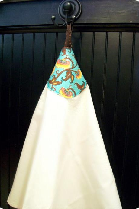 SALE Turquoise Chocolate Brown Paisley fabric flour sack towel with hanging loop...PERFECT hostess gift....
