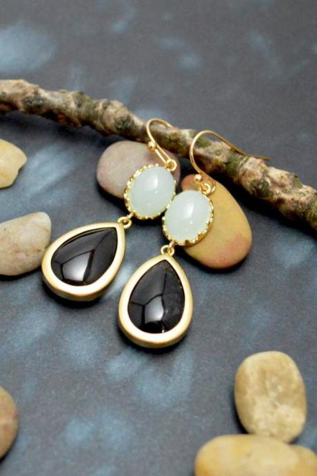 B-070 Jade drop earrings, Gemstone earrings, Dangle earrings, Gold plated earrings /Bridesmaid gifts/Everyday jewelry/