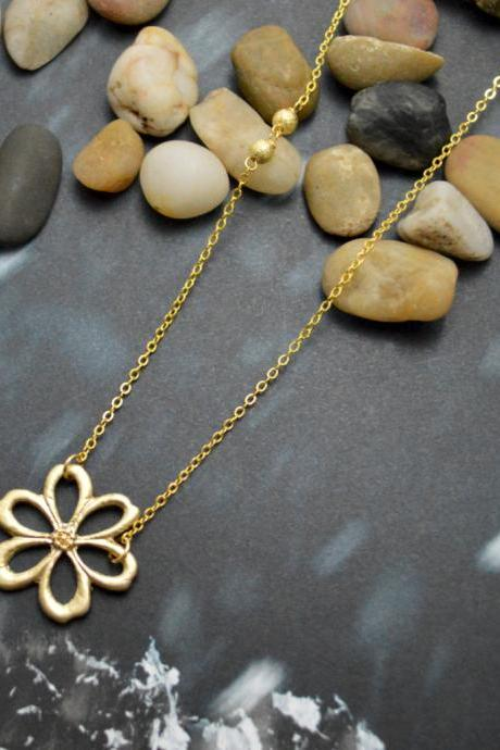 A-083 Flower necklace,Metal beads necklace,Sideways necklace,Simple necklace,Modern necklace, Gold plated/Bridesmaid/gifts/Everyday jewelry/