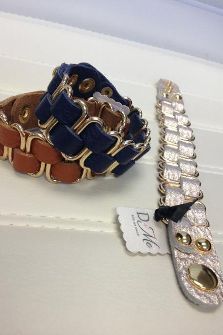 Leather Double Weave Bracelet