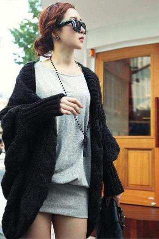 New Womens Cable Knitted Batwing Sleeve Cardigan Tops Knitwear Sweater Outwear Cape(ax289) Black