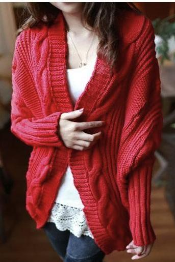 New Womens Cable Knitted Batwing Sleeve Cardigan Tops Knitwear Sweater Outwear Cape(ax289) Red