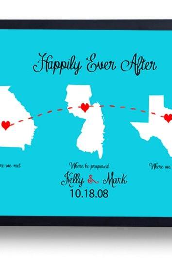 Anniversary gift for Husband, Boyfriend- Happily Ever After- Long Distance Relationship-First Anniversary Gift for Men -Women