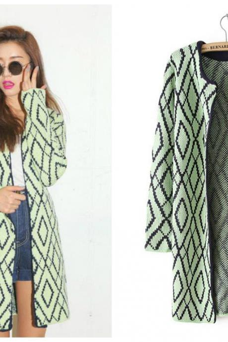 Autumn & Winter New Fashion Women Sweaters, Long Slim Light Green Knit Cardigans with Diamond Pattern 433