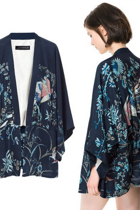 Japanese style Navy Blue Phoenix Printing Kimono Jacket Women Outwear High Quality S M L
