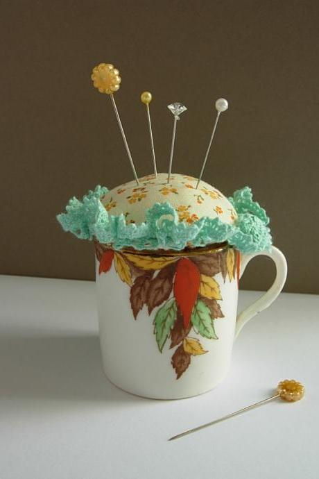 Pin cushion vintage coffee cup