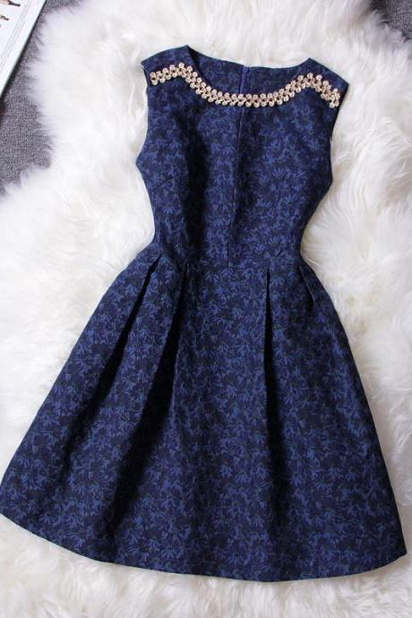 Cute Retro Diamond Sleeveless Dress