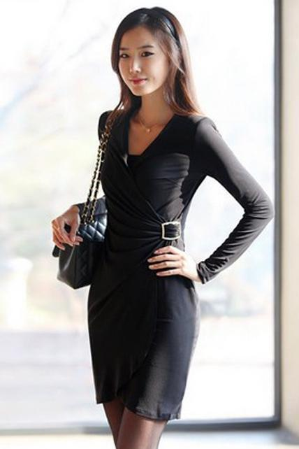 Charming V Neck Long Sleeve Peplum Dress - Black