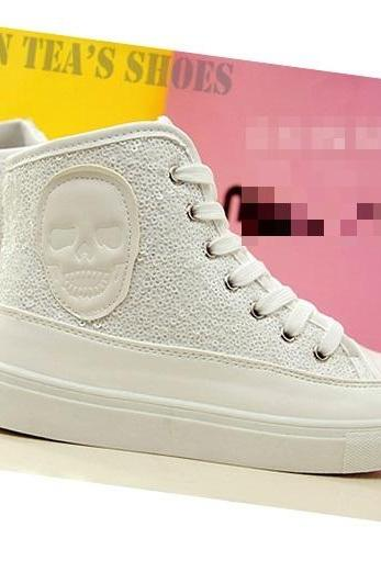 new fashion skull women brand glitter canvas shoes, high platform sneakers for women and sport shoes woman #Y30100Q