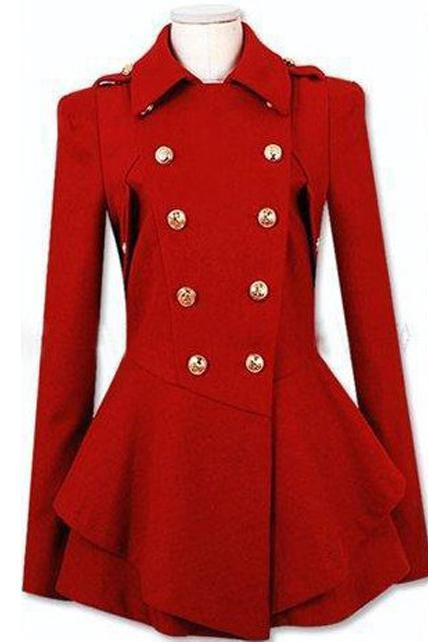 Latest Double Breasted Wool Turndown Collar High Waist Coat - Red