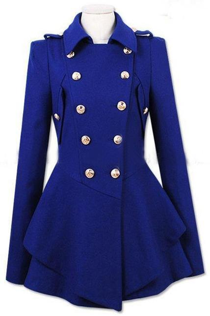 Latest Double Breasted Wool Turndown Collar High Waist Coat - Blue