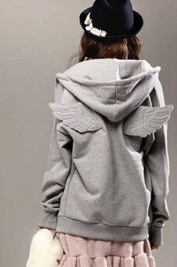 Cute Wing Decoration Sweatshirt for Girls - Grey