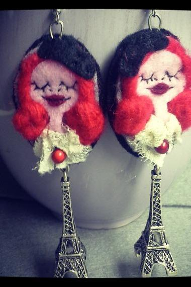 Handmade felt Earrings Art Doll little Paris Red Hair Girl with Eiffel Tower Lace Clothes