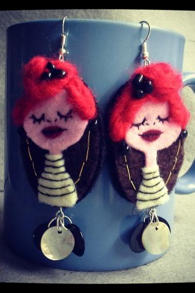 Handmade felt Earrings Art Doll little Parisienne Red Hair Girl