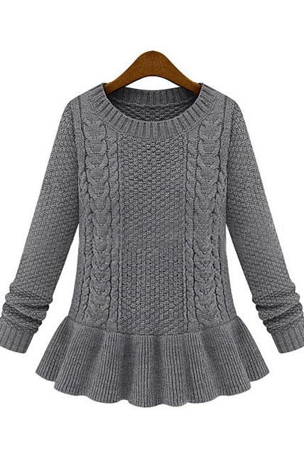 Ladylike Round Neck Cable Sweaters with Frill - Grey