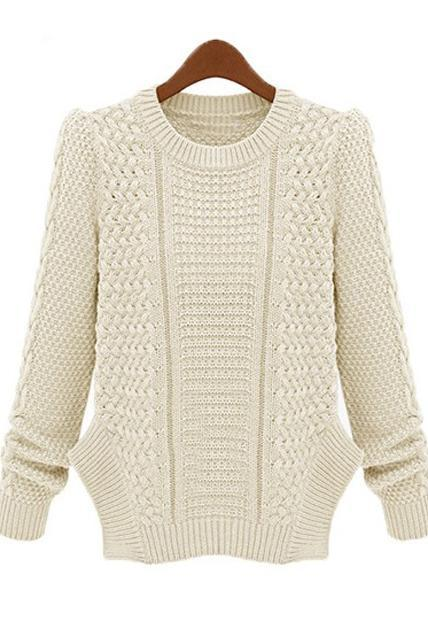 Brief Round Neck Slit Design Knitting Sweater - White
