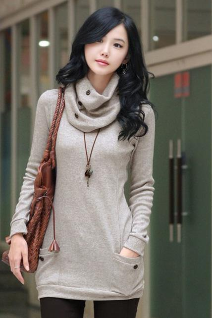 Fashion Round Neck with Scarf Fitted Autumn Winter Sweater - Grey