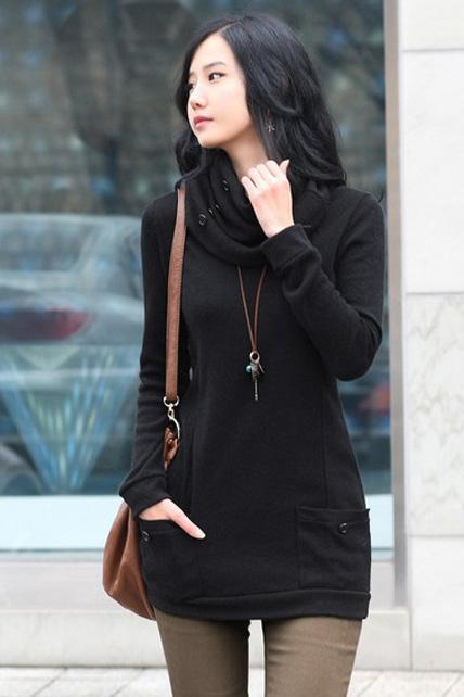 Fashion Round Neck with Scarf Fitted Autumn Winter Sweater - Black