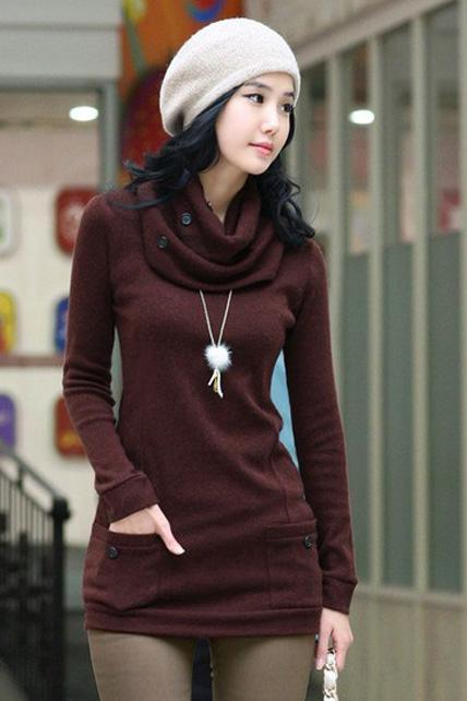 Fashion Round Neck with Scarf Fitted Autumn Winter Sweater - Wine Red
