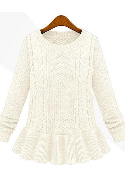 Ladylike Round Neck Cable Sweaters with Frill - White