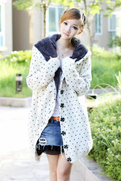 Bestselling Polka-dot Knitting Wool Hooded Cardigans - White