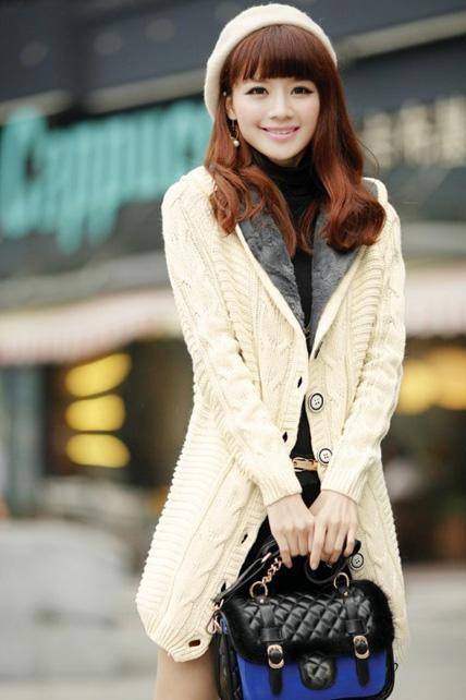 Thickened Hooded Collar Button Closure Knitting Cardigans - White