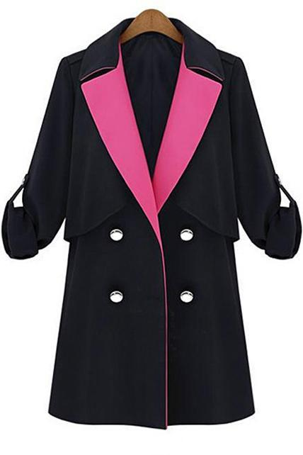 Two Tone Design Belt Decoration Double Breasted Trench Coat