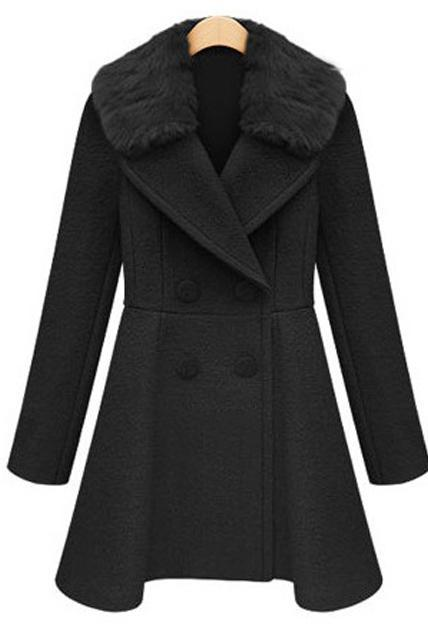 Stylish Double Breasted Trench Coat with Fur Collar - Black